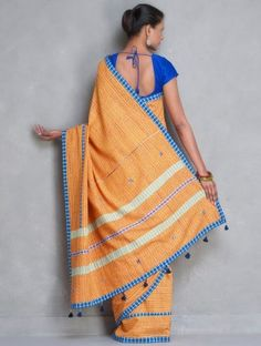 Orange-Multi-Color Khadi Gamcha Handwoven Saree by Manas