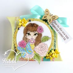 "Hilda Designs: Reto #31 en LAC: Dulcero Primaveral, digi de Lacy Sunshine se llama Daphne Lacy Sunshine Pin Up Girl,el sentimiento sello de Latina Crafter del set  ""Mi flor favorita"""