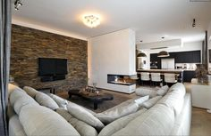 Haard in draagmuur? Dark Wood Floors Living Room, Living Room Inspiration, Couch, Flooring, Stove, Interiors, Furniture, Tips, Design