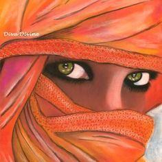 Tableau portrait ethnique oriental, visage du monde - format env.a4 - création originale au pastel sec ~ le beau regard ~