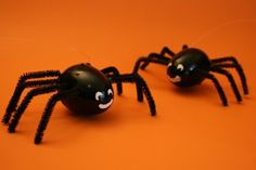 Plastic Easter eggs turned to spiders