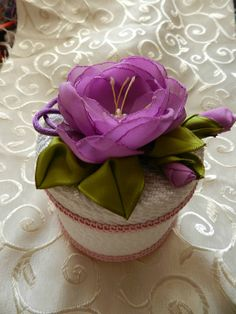Love the pretty ribbonwork Rose on lid of small box.  Idea for gift box!