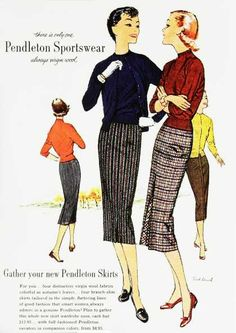 Pendleton Sportswear-1950s era pencil skirt wool plaid stripes sweater knit black red orange casual day wear yellow print ad illustration