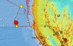 A USGS map showing recent earthquakes within the past 7 days along the San Andreas Fault off the coast of California. Red indicates most recent quakes, 5.0 and 4.9 preliminary magnitudes reported Friday, January 29th, 2016.
