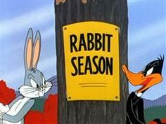 Bugs Bunny and Daffy Duck - Rabbit Seasoning # sassy # smart alec Bugs trumps again. # Aren't I a stinker?