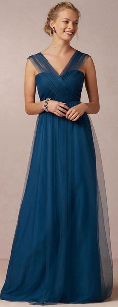 Tulle Zipper V-neck Floor-length Natural Bridesmaid Dresses