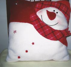 Pillow has red and white snowman wearing a plaid scarf and hat. Christmas Cushions, Christmas Pillow, Christmas Snowman, Christmas Stockings, Christmas Crafts, Christmas Ornaments, Xmas, Christmas 2019, Christmas Applique