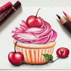cherrycupcake, cherry, cupcake, muffin, illustration, drawing, pencil, pencil drawing, tattoo, иллюстрация, вишня, вишневый, капкейк, patisserie, маффин, пироженное,