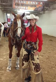 Champion CMSA 2012 mounted shooter, Kenda. Love those chinks!