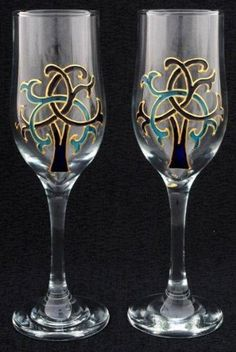 Celtic Glass Designs Set of 2 Hand Painted Champagne Flutes in a Blue Celtic Tree of Life Design. Celtic Glass Designs http://www.amazon.com/dp/B007REIU22/ref=cm_sw_r_pi_dp_MEjiub0SQ5RGK