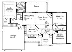 First Floor Plan of Craftsman   House Plan 50139, love the kitchen/dining/great room layout,  has a dormer which I love, use master/utility area from Plan#430-89 Houseplans.com instead of this plan's