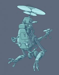 Robot Copter for the rest of the year! We start with with Pongibotcopter! 2d Character, Character Design References, Robots Characters, Pillow Fight, Futuristic Design, Creature Design, Cool Drawings, Game Art, Robots Robots