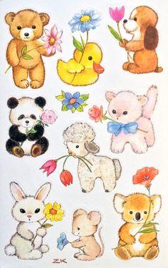 Vintage Z-Design baby animal stickers
