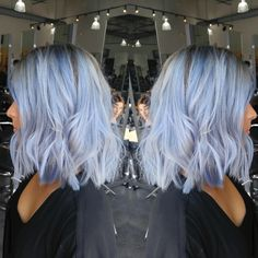 Shark blue by ion over wella T14 toner Blue hair Silver hair Fashion colors Vivid hair color Pastel hair color