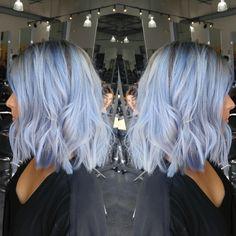 Shark blue by ion over wella T14 toner Blue hair Silver hair Fashion colors Vivid hair color Pastel hair color