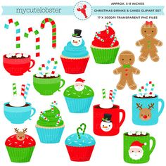 Christmas Drinks & Cakes Clipart Set - clip art set of cups, mugs, cakes, gingerbread - personal use, small commercial use, instant download