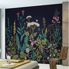 Botanical Fleur x 118 6 Piece Wall Mural Set is part of painting Walls Murals - Botanical Fleur x 118 6 Piece Wall Mural Set is a sight for sore eyes Vibrant shades of teal, pink, purple, and green come together in a vintage floral illustration Mural Wall Art, Painted Wall Murals, Painting On Wall, Decorative Wall Paintings, Wall Painting Flowers, Hand Painted Walls, Faux Painting, Wood Walls, Painting Furniture
