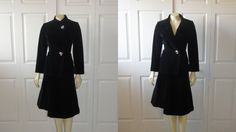 CLOTHING SALE Vintage 60s Suit Mad Men Suitime by Bert Newman Black Velvet Suit Two Way Jacket A Line Skirt Modern Small to Medium Fashion