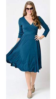 Vintage 1950s Teal Long Sleeve Lyra Stretch Jersey Wrap Dress