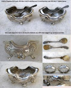 french silver baccarat crystal salt cellars circa 1870 Antique China, Antique Glass, Antique Silver, Salt And Pepper Cellars, Salt Cellars, Fancy Dishes, Salt Of The Earth, Condiment Sets, Baccarat Crystal