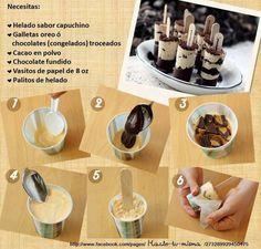Paleta de helado con galleta