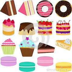 Vector Icons : Cute Sweet Cake by Kewuwu, via Dreamstime