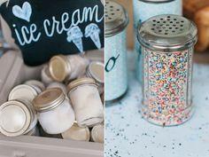 Adorable Ice Cream Bar mason jars idea at Outdoor Wedding