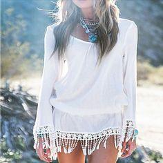 White Flare Long Sleeve Tassel Mini Dress