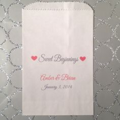 Sweet Beginnings Wedding Favor Bags Candy Buffet by girlie2shoes, $32.00