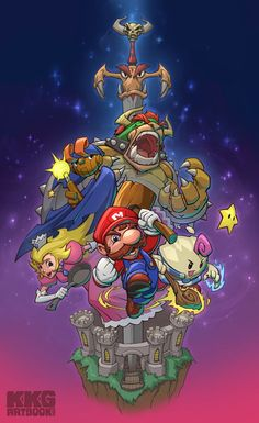 Mario RPG artwork by Peet Cooper. Super Mario Rpg, Super Mario World, Wallpaper Nintendo, Cartoon Wallpaper, Super Mario Tattoo, Game Character, Character Design, Metroid, Video Game Art