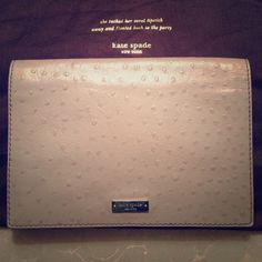 Kate Spade ostrich embossed convertible clutch Kate Spade taupe color ostrich embossed leather convertible clutch. Can be used as a shoulder bag or clutch by placing straps inside. Elegant and great for any occasion. Always get a ton of compliments. Sold out online. kate spade Bags Clutches & Wristlets