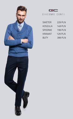 Stylizacja Giacomo Conti: sweter Arsenio 14/45 CS, koszula Marco 14/10/15, spodnie Abramo 14/09 T #giacomoconti