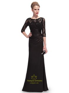 Long Prom Dresses With Lace Overlay Sleeves,Black Prom Dresses With Lace Sleeves