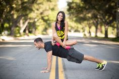 Adorable workout themed engagement session really showcases couple's personalities! | Photo by  Southern Love Studios, Raleigh Photographer