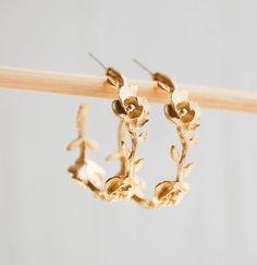 Roses & Vine Golden Hoop Earrings Wedding Bride Springtime Romance