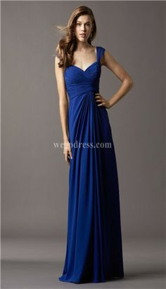 pretty and long bridesmaid dress. loving the sapphire color too!