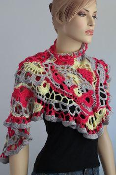 VENTA encaje Freeform Crochet Bufanda mantón de la falda de algodón / arte usable / OOAK / listo para enviar