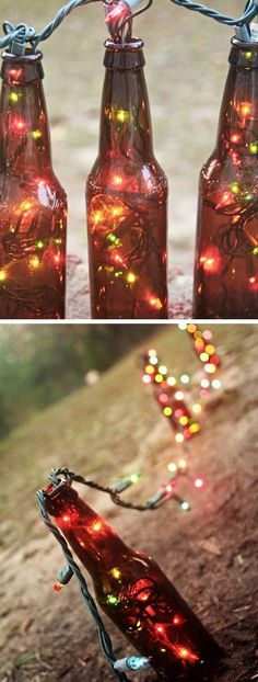 Beer Bottle Christmas Lights   Click Pic for 21 DIY Christmas Outdoor Decorations Ideas   Front Porch Christmas Decorations