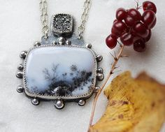 Dendritic Opal Necklace/ Sparkling Druzy/ by modesteparisienne