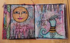 """Art Journal by *Silkku* """"Friendship is forever"""" silkkus.blogspot.fi Art Journal Pages, Friendship, Handmade, Painting, Hand Made, Painting Art, Craft, Paintings, Painted Canvas"""