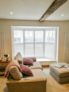 Give us a call today to see how we can help you design the perfect covering for that bay window Bay Window Shutters, Wooden Shutters, Motorized Blinds, Made To Measure Blinds, Space Frame, Small Windows, Window Coverings, Carpentry, Your Design