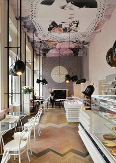 Lolita Cafe by Trije Arhitekti  #ceiling_painting, #ceiling_trompe l'oiel,