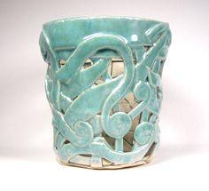 Blue Ceramic Orchid Pot - Glossy Robin Egg Blue Orchid Planter. $35.00, via Etsy.