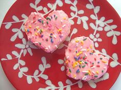 Healthy Valentine's Day snack made from English muffins and strawberry cream cheese or jam. In case you don't want to bake and ice cookies!
