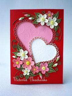 Hearts quilled design frame