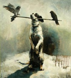 """Humans as animals! Well maybe not humans exactly, but Finnish artist Samuli Heimonen does hope to express human thoughts and emotions through his animal subjects. To him, """"animals seem to. Animal Paintings, Animal Drawings, Figure Painting, Painting & Drawing, Dog Artist, Dog Artwork, Illustration Sketches, Photo Art, Modern Art"""