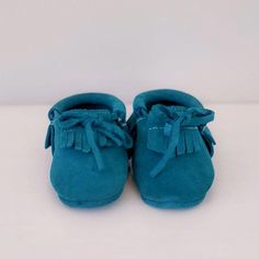 Pip & Bop Teal Suede leather moccasins toddler and bay footwear Leather Moccasins, Suede Leather, Kids Wear, Baby Shoes, Teal, Footwear, How To Wear, Collection, Fashion