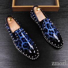Blue Patent Leopard Spikes Punk Rock Mens Loafers Flats Dress Shoes Blue Dress Shoes, Punk Rock, Spike Shoes, Italian Shoes, Mens Fashion Shoes, Girls Shoes, Shoes Men, Men's Shoes, Loafers Men