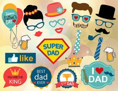 Instant Download Father's Day Photo Booth Props by OneStopDigital