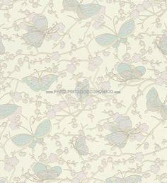 PAPEL PINTADO RASCH 452112 - PLAISIR. ¡Papel para pared con flores pequeñas y mariposas azulinas a 32,00 €! Papeles pintados ideales para decorar las paredes de un pequeño salón-comedor, habitaciones o espacios reducidos para darles grandiosidad.